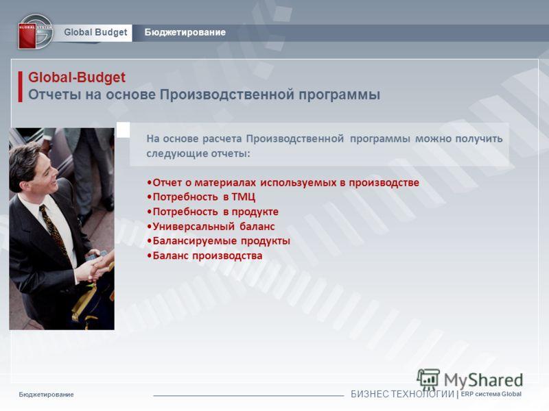 Бюджетирование БИЗНЕС ТЕХНОЛОГИИ | ERP система Global Global BudgetБюджетирование Global-Budget Отчеты на основе Производственной программы На основе расчета Производственной программы можно получить следующие отчеты: Отчет о материалах используемых