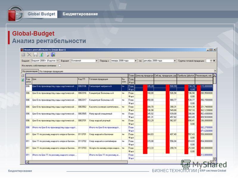 Бюджетирование БИЗНЕС ТЕХНОЛОГИИ | ERP система Global Global BudgetБюджетирование Global-Budget Анализ рентабельности