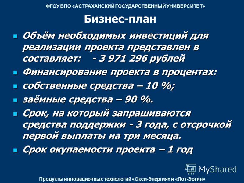 Бизнес-план Объём необходимых инвестиций для реализации проекта представлен в составляет: - 3 971 296 рублей Объём необходимых инвестиций для реализации проекта представлен в составляет: - 3 971 296 рублей Финансирование проекта в процентах: Финансир