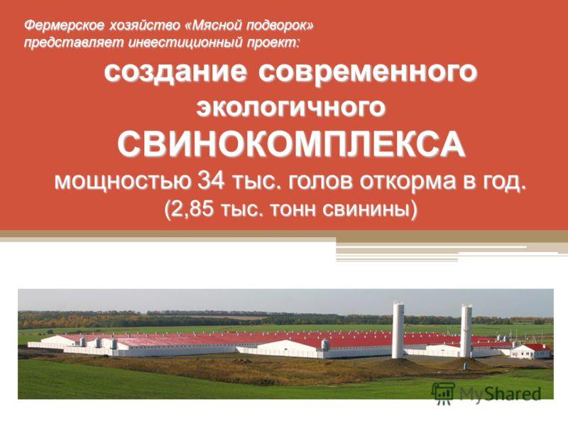 Фермерское хозяйство «Мясной подворок» представляет инвестиционный проект: создание современного экологичного СВИНОКОМПЛЕКСА мощностью 34 тыс. голов откорма в год. (2,85 тыс. тонн свинины)