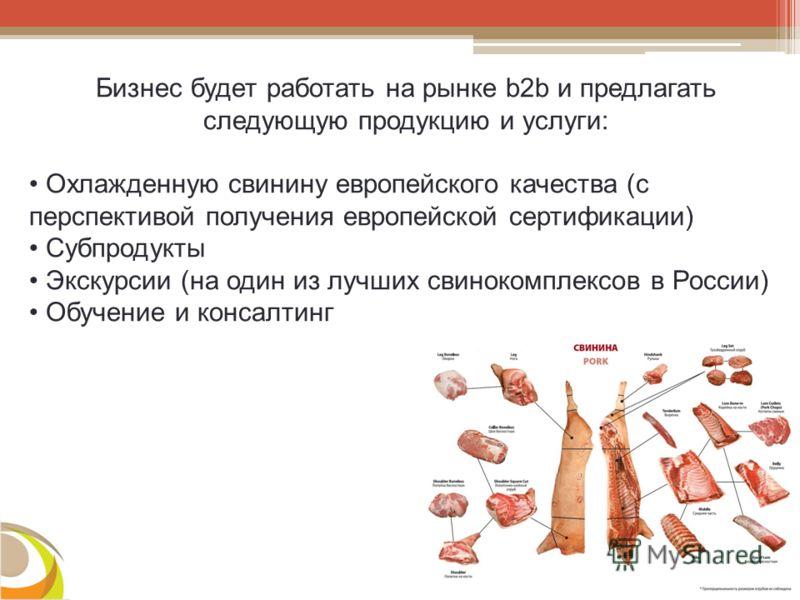 Бизнес будет работать на рынке b2b и предлагать следующую продукцию и услуги: Охлажденную свинину европейского качества (с перспективой получения европейской сертификации) Субпродукты Экскурсии (на один из лучших свинокомплексов в России) Обучение и