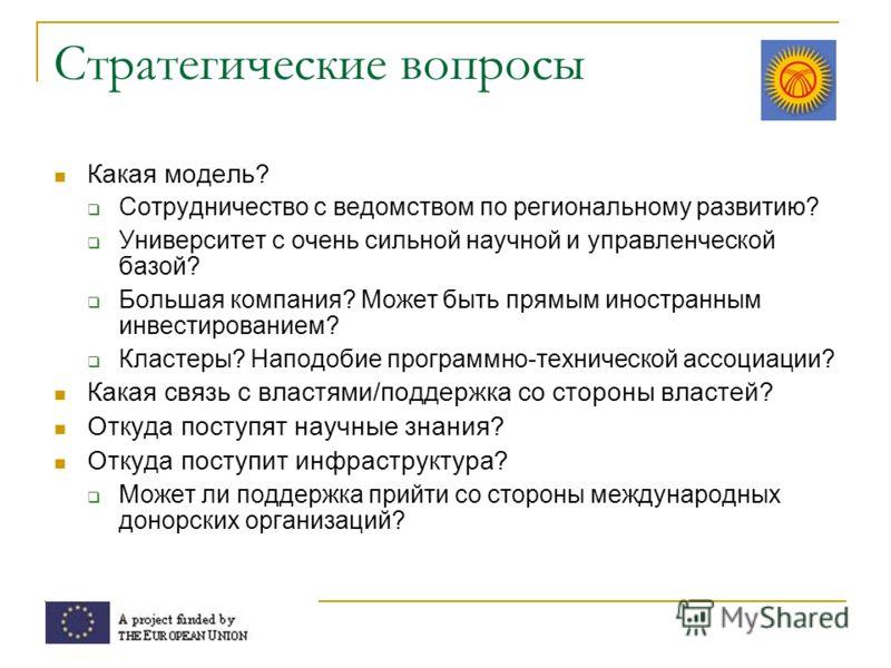 Стратегические вопросы Какая модель? Сотрудничество с ведомством по региональному развитию? Университет с очень сильной научной и управленческой базой? Большая компания? Может быть прямым иностранным инвестированием? Кластеры? Наподобие программно-те