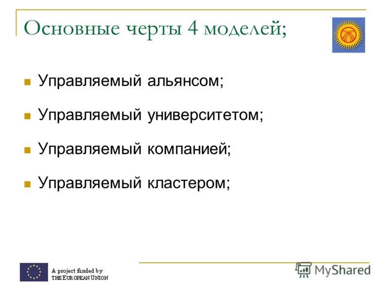 Основные черты 4 моделей; Управляемый альянсом; Управляемый университетом; Управляемый компанией; Управляемый кластером;