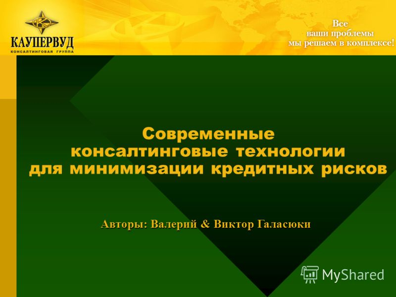 Современные консалтинговые технологии для минимизации кредитных рисков Авторы: Валерий & Виктор Галасюки
