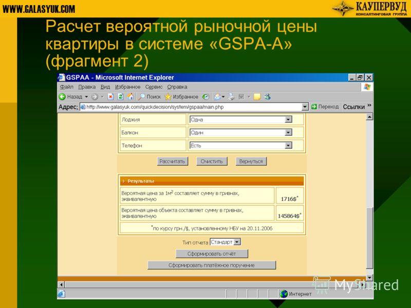 WWW.GALASYUK.COM Расчет вероятной рыночной цены квартиры в системе «GSPA-A» (фрагмент 2)