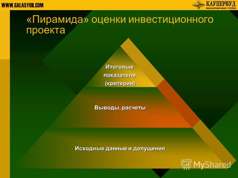 WWW.GALASYUK.COM «Пирамида» оценки инвестиционного проектаИтоговыепоказатели(критерии) Выводы, расчеты Исходные данные и допущения