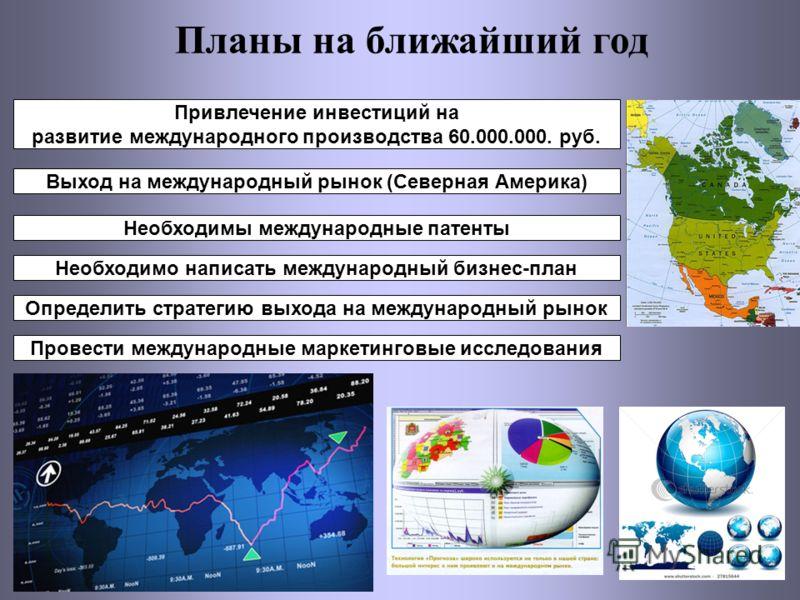 Планы на ближайший год Привлечение инвестиций на развитие международного производства 60.000.000. руб. Выход на международный рынок (Северная Америка) Необходимы международные патенты Необходимо написать международный бизнес-план Определить стратегию