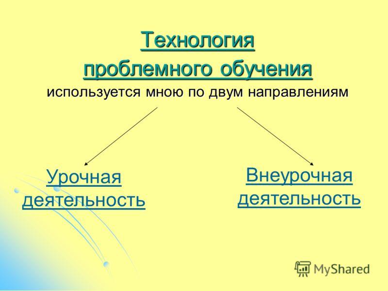 Технология проблемного обучения используется мною по двум направлениям Урочная деятельность Внеурочная деятельность
