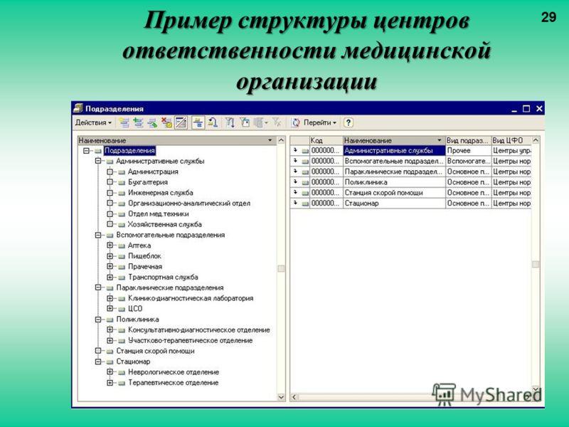 Пример структуры центров ответственности медицинской организации 29