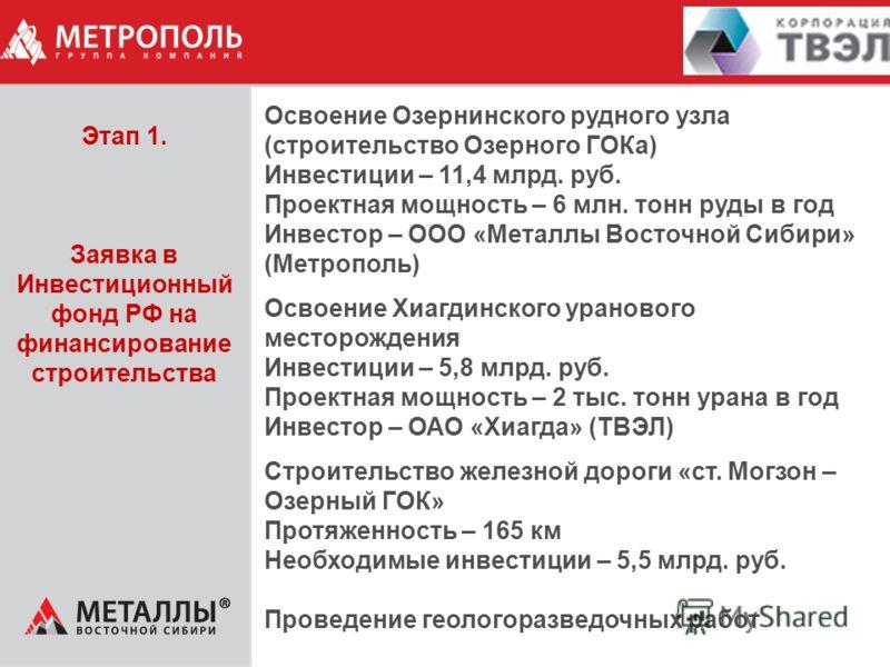 Освоение Озернинского рудного узла (строительство Озерного ГОКа) Инвестиции – 11,4 млрд. руб. Проектная мощность – 6 млн. тонн руды в год Инвестор – ООО «Металлы Восточной Сибири» (Метрополь) Освоение Хиагдинского уранового месторождения Инвестиции –