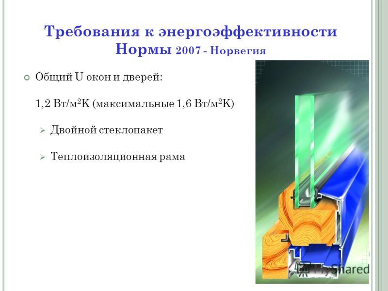 Общий U окон и дверей: 1,2 Вт/м 2 K (максимальные 1,6 Вт/м 2 K) Двойной стеклопакет Теплоизоляционная рама Требования к энергоэффективности Нормы 2007 - Норвегия