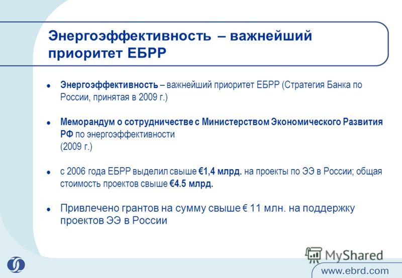 Энергоэффективность – важнейший приоритет ЕБРР Энергоэффективность – важнейший приоритет ЕБРР (Стратегия Банка по России, принятая в 2009 г.) Меморандум о сотрудничестве с Министерством Экономического Развития РФ по энергоэффективности (2009 г.) с 20