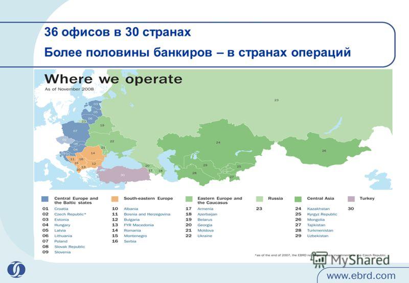 36 офисов в 30 странах Более половины банкиров – в странах операций