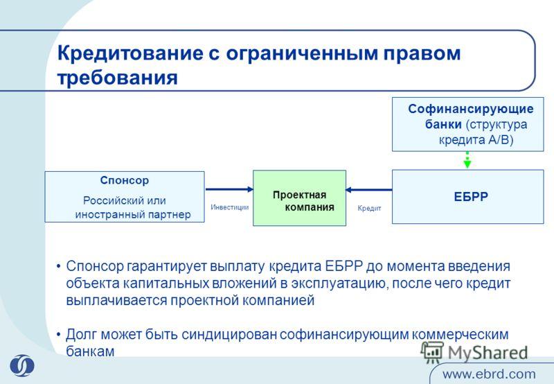 Спонсор Российский или иностранный партнер ЕБРР Проектная компания Софинансирующие банки (структура кредита A/B) Кредитование с ограниченным правом требования Кредит Инвестиции Спонсор гарантирует выплату кредита ЕБРР до момента введения объекта капи