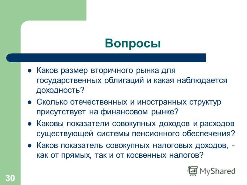 30 Вопросы Каков размер вторичного рынка для государственных облигаций и какая наблюдается доходность? Сколько отечественных и иностранных структур присутствует на финансовом рынке? Каковы показатели совокупных доходов и расходов существующей системы
