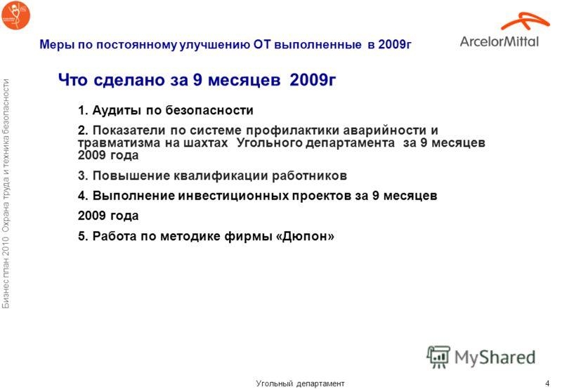Угольный департамент Бизнес план 2010 Охрана труда и техника безопасности 3 Динамика травматизма по годам (персонал АМТ УД)