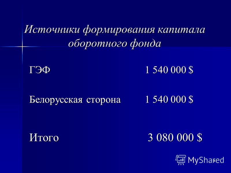 4 Источники формирования капитала оборотного фонда ГЭФ 1 540 000 $ Белорусская сторона 1 540 000 $ Итого 3 080 000 $
