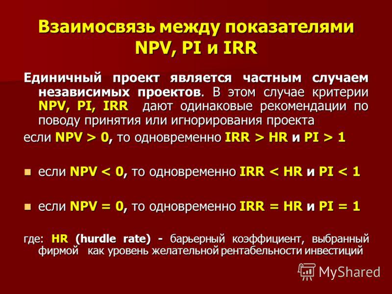 Взаимосвязь между показателями NPV, PI и IRR Единичный проект является частным случаем независимых проектов. В этом случае критерии NPV, PI, IRR дают одинаковые рекомендации по поводу принятия или игнорирования проекта если NPV > 0, то одновременно I