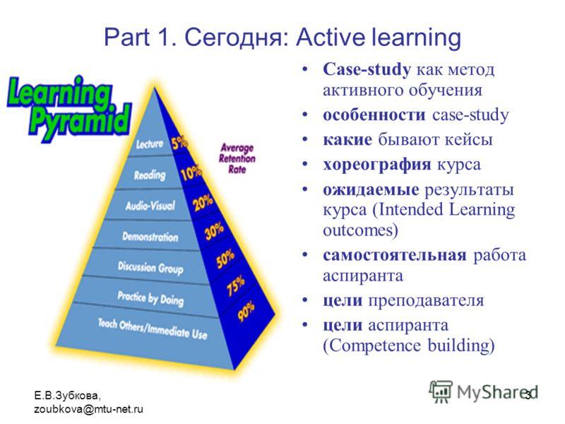 Е.В.Зубкова, zoubkova@mtu-net.ru 3 Part 1. Сегодня: Active learning Case-study как метод активного обучения особенности case-study какие бывают кейсы хореография курса ожидаемые результаты курса (Intended Learning outcomes) самостоятельная работа асп