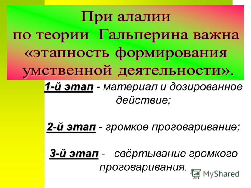 1-й этап 1-й этап - материал и дозированное действие; 2-й этап 2-й этап - громкое проговаривание; 3-й этап 3-й этап - свёртывание громкого проговаривания.