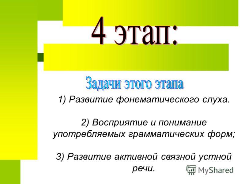 1) Развитие фонематического слуха. 2) Восприятие и понимание употребляемых грамматических форм; 3) Развитие активной связной устной речи.