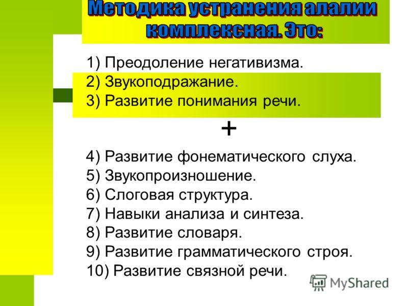 1) Преодоление негативизма. 2) Звукоподражание. 3) Развитие понимания речи. + 4) Развитие фонематического слуха. 5) Звукопроизношение. 6) Слоговая структура. 7) Навыки анализа и синтеза. 8) Развитие словаря. 9) Развитие грамматического строя. 10) Раз