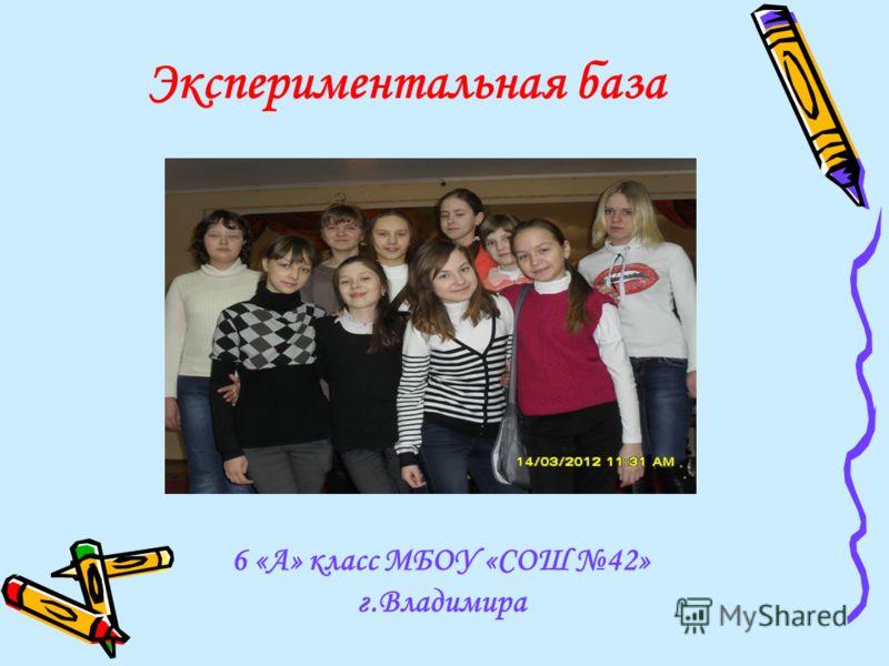 Экспериментальная база 6 «А» класс МБОУ «СОШ 42» г.Владимира