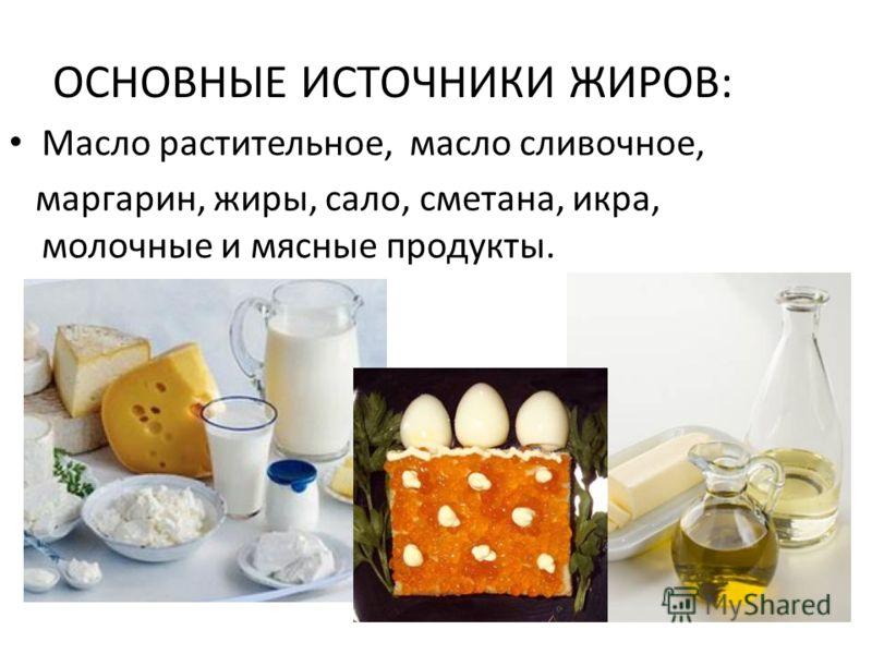 ОСНОВНЫЕ ИСТОЧНИКИ ЖИРОВ: Масло растительное, масло сливочное, маргарин, жиры, сало, сметана, икра, молочные и мясные продукты.