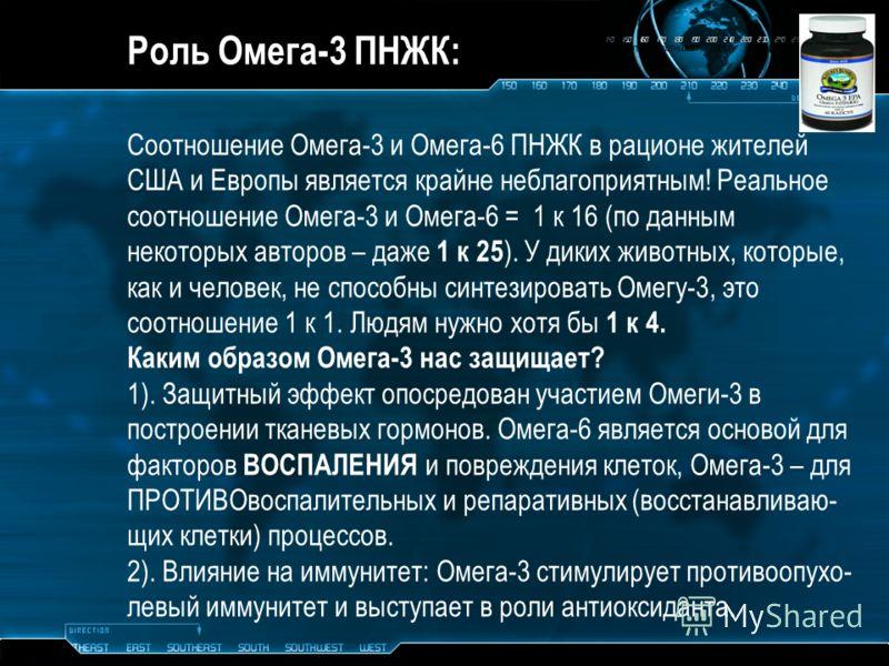 Роль Омега-3 ПНЖК: Соотношение Омега-3 и Омега-6 ПНЖК в рационе жителей США и Европы является крайне неблагоприятным! Реальное соотношение Омега-3 и Омега-6 = 1 к 16 (по данным некоторых авторов – даже 1 к 25 ). У диких животных, которые, как и челов