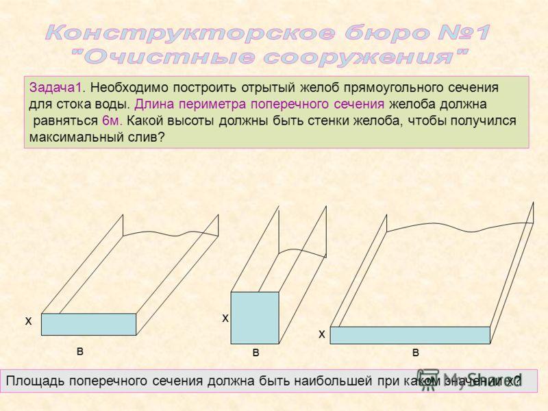 Задача1. Необходимо построить отрытый желоб прямоугольного сечения для стока воды. Длина периметра поперечного сечения желоба должна равняться 6м. Какой высоты должны быть стенки желоба, чтобы получился максимальный слив? в х в х в х Площадь поперечн