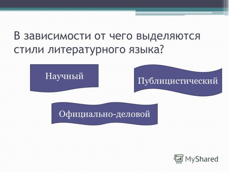 В зависимости от чего выделяются стили литературного языка? Официально-деловой Научный Публицистический