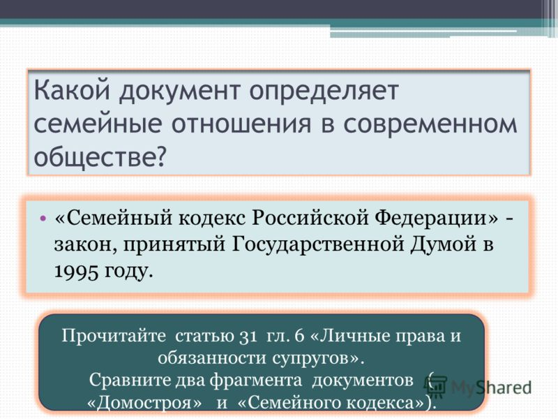 Какой документ определяет семейные отношения в современном обществе? «Семейный кодекс Российской Федерации» - закон, принятый Государственной Думой в 1995 году. Прочитайте статью 31 гл. 6 «Личные права и обязанности супругов». Сравните два фрагмента