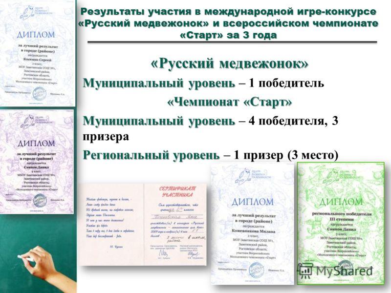 Результаты участия в международной игре-конкурсе «Русский медвежонок» и всероссийском чемпионате «Старт» за 3 года « Русский медвежонок» Муниципальный уровень Муниципальный уровень – 1 победитель «Чемпионат «Старт» Муниципальный уровень Муниципальный