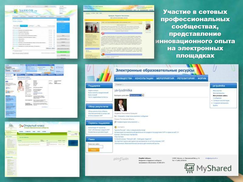 Участие в сетевых профессиональных сообществах, представление инновационного опыта на электронных площадках