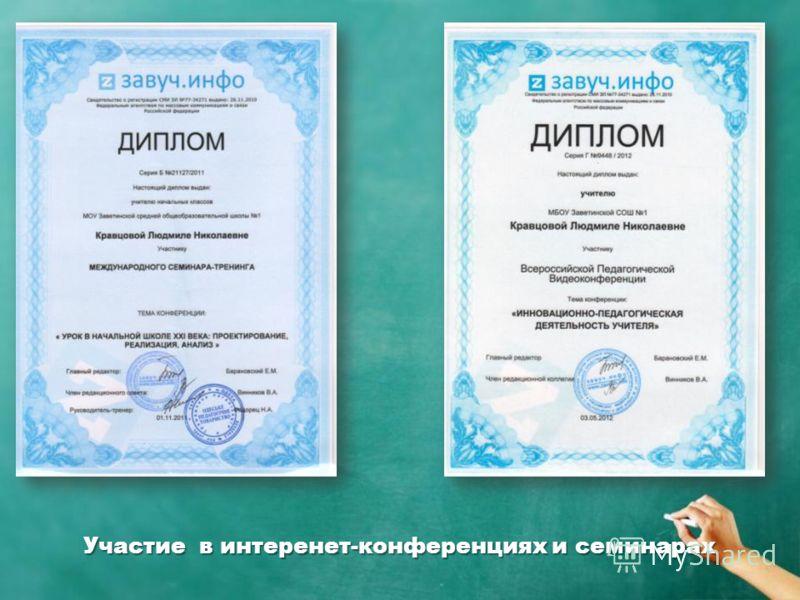 Участие в интеренет-конференциях и семинарах