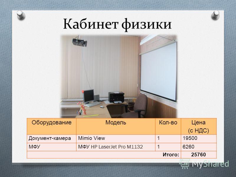Кабинет физики ОборудованиеМодельКол - во Цена ( с НДС ) Документ - камера Mimio View119500 МФУ МФУ HP LaserJet Pro M1132 16260 Итого :25760