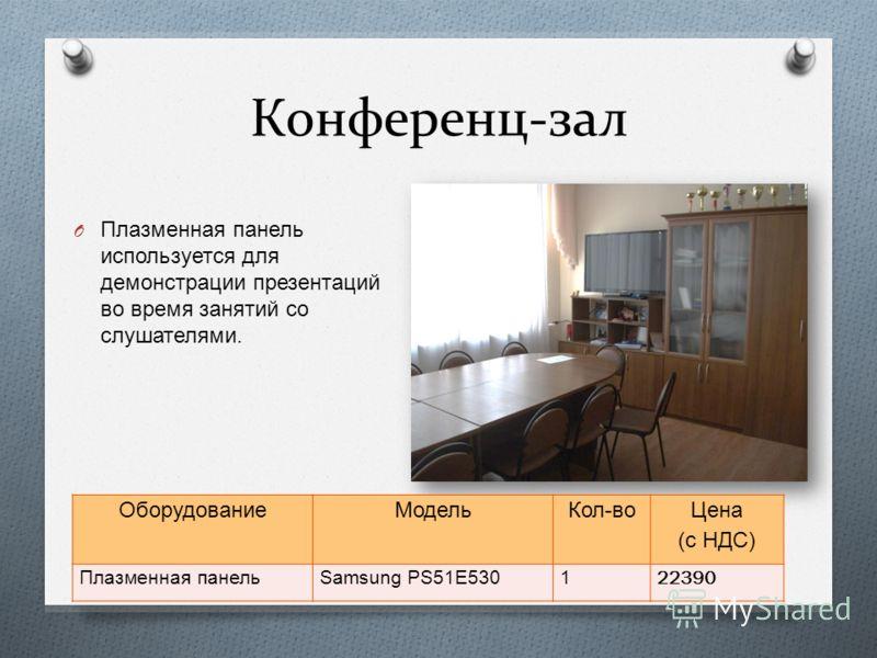 Конференц-зал O Плазменная панель используется для демонстрации презентаций во время занятий со слушателями. ОборудованиеМодельКол - во Цена ( с НДС ) Плазменная панель Samsung PS51E530122390