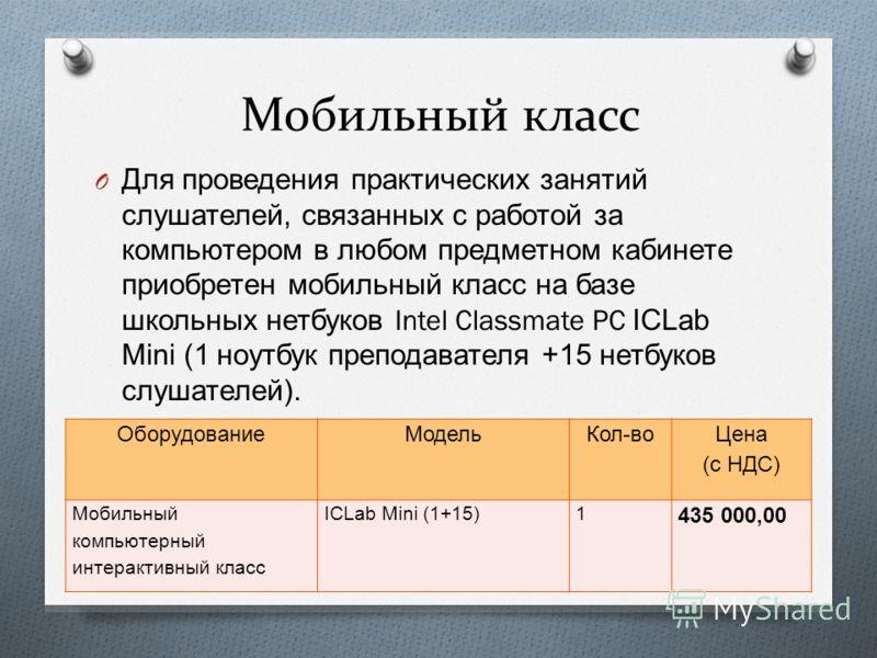 Мобильный класс O Для проведения практических занятий слушателей, связанных с работой за компьютером в любом предметном кабинете приобретен мобильный класс на базе школьных нетбуков Intel Classmate PC ICLab Mini (1 ноутбук преподавателя +15 нетбуков