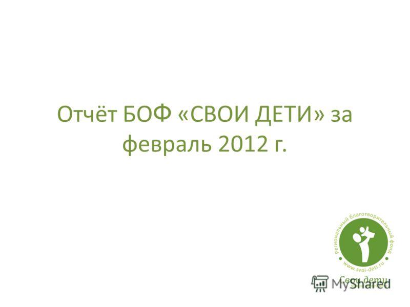 Отчёт БО Ф «СВОИ ДЕТИ» за февраль 2012 г.