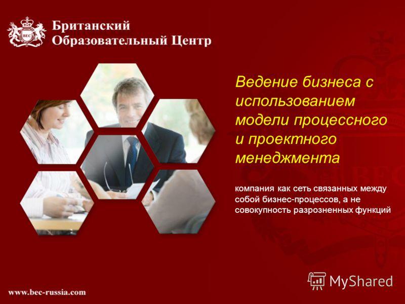 Ведение бизнеса с использованием модели процессного и проектного менеджмента компания как сеть связанных между собой бизнес-процессов, а не совокупность разрозненных функций