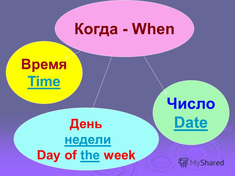Когда - When Время Time День недели Day of the week Число Date
