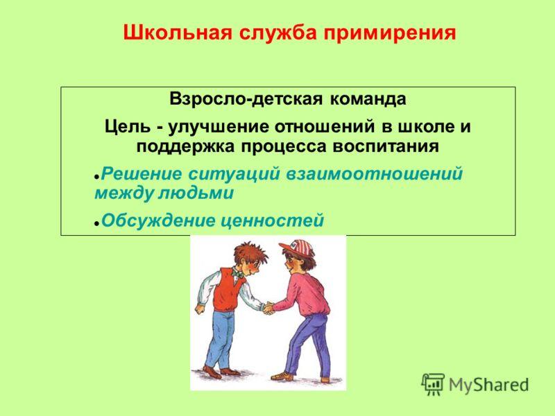 Школьная служба примирения Взросло-детская команда Цель - улучшение отношений в школе и поддержка процесса воспитания Решение ситуаций взаимоотношений между людьми Обсуждение ценностей