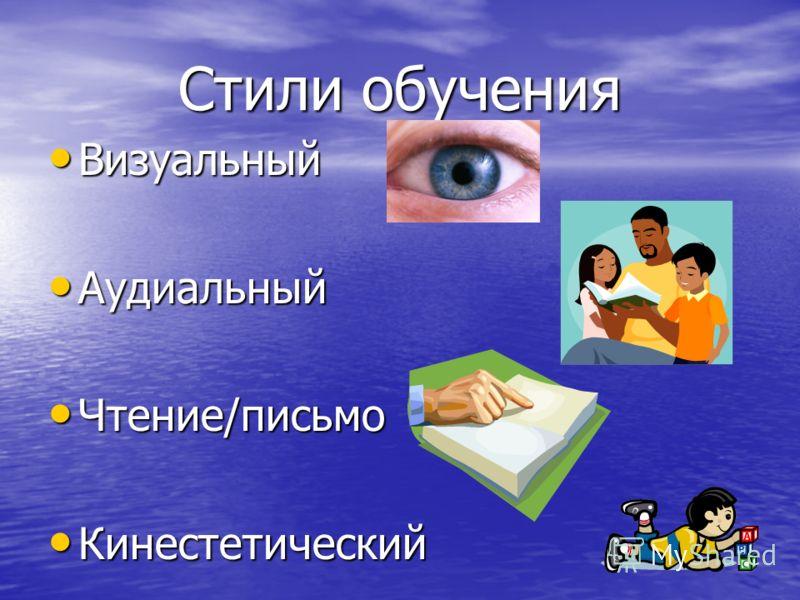 Визуальный Визуальный Аудиальный Аудиальный Чтение/письмо Чтение/письмо Кинестетический Кинестетический