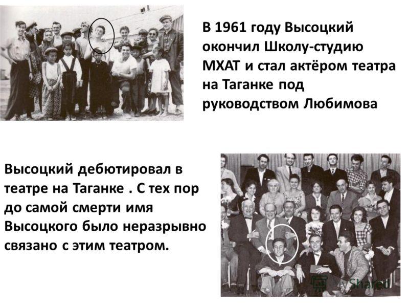В 1961 году Высоцкий окончил Школу-студию МХАТ и стал актёром театра на Таганке под руководством Любимова. Высоцкий дебютировал в театре на Таганке. С тех пор до самой смерти имя Высоцкого было неразрывно связано с этим театром.
