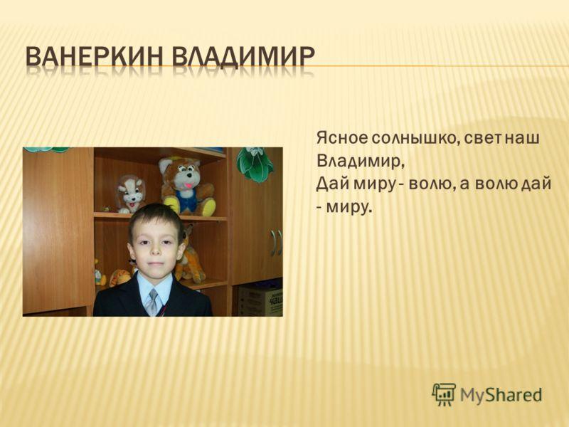 Ясное солнышко, свет наш Владимир, Дай миру - волю, а волю дай - миру.