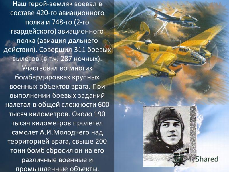 Наш герой-земляк воевал в составе 420-го авиационного полка и 748-го (2-го гвардейского) авиационного полка (авиация дальнего действия). Совершил 311 боевых вылетов (в т.ч. 287 ночных). Участвовал во многих бомбардировках крупных военных объектов вра