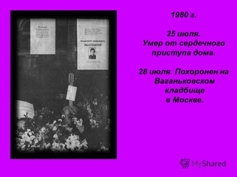 1980 г. 25 июля. Умер от сердечного приступа дома. 28 июля. Похоронен на Ваганьковском кладбище в Москве.