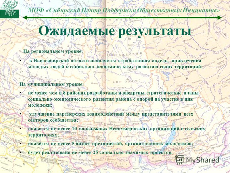 МОФ «Сибирский Центр Поддержки Общественных Инициатив» Ожидаемые результаты На региональном уровне: в Новосибирской области появляется отработанная модель, привлечения молодых людей к социально-экономическому развитию своих территорий; На муниципальн