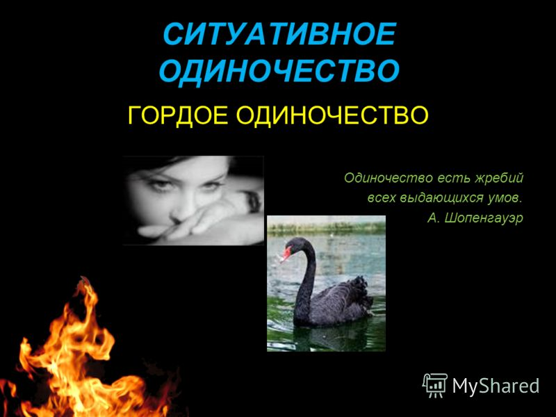 СИТУАТИВНОЕ ОДИНОЧЕСТВО ГОРДОЕ ОДИНОЧЕСТВО Одиночество есть жребий всех выдающихся умов. А. Шопенгауэр