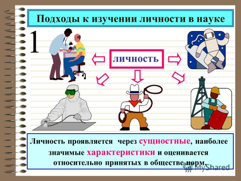 личность Подходы к изучении личности в науке 1 Личность проявляется через сущностные, наиболее значимые характеристики и оценивается относительно принятых в обществе норм.